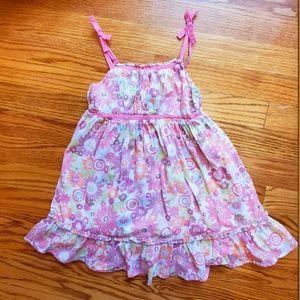 Pink Floral Print Sleeveless Summer Sundress 3T